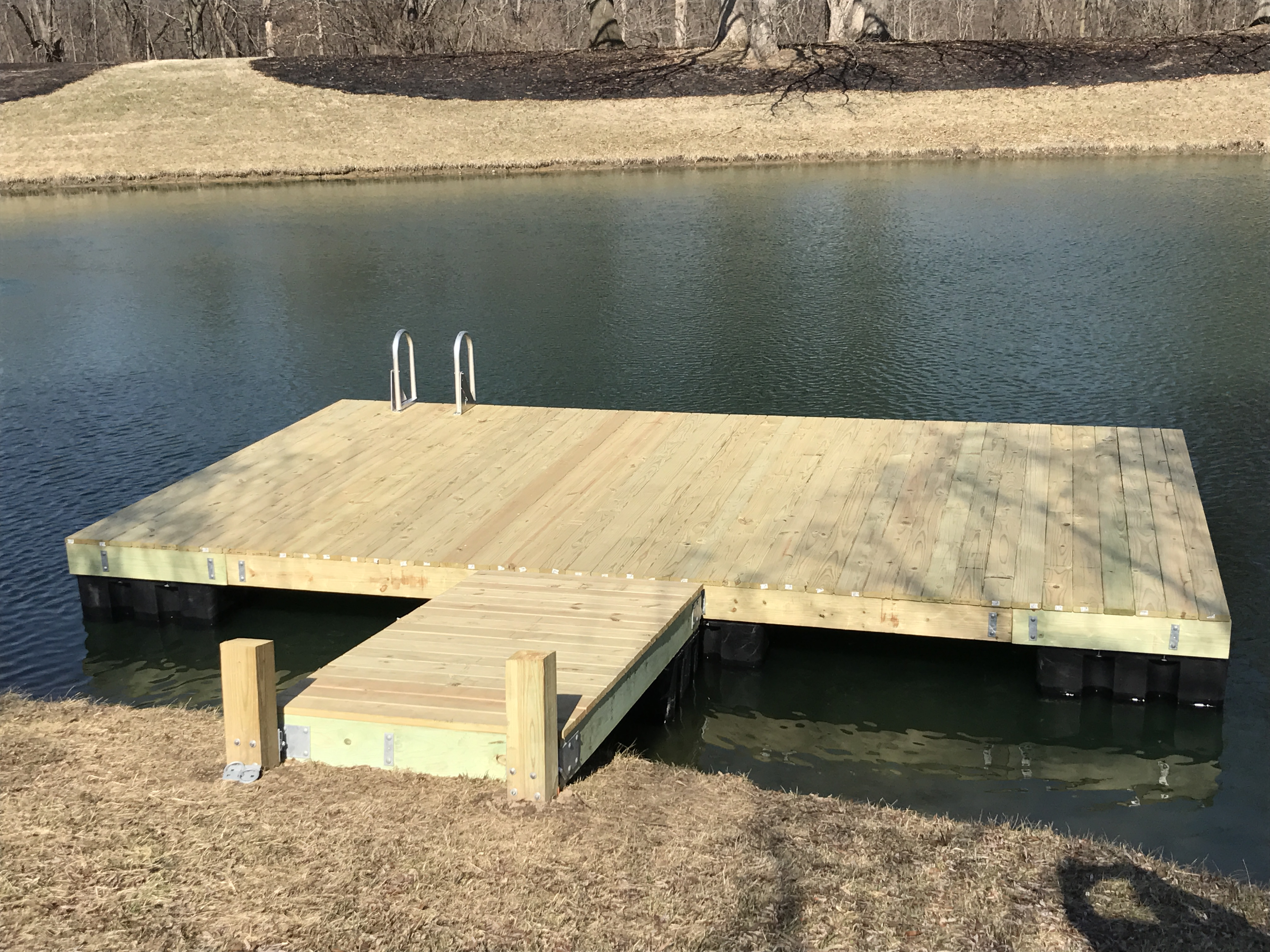 Dock swim platform kit 12 ft x 12 ft bjornsen pond for Floating fishing platform